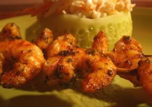 recette brochettes crevette guacamole au crabe