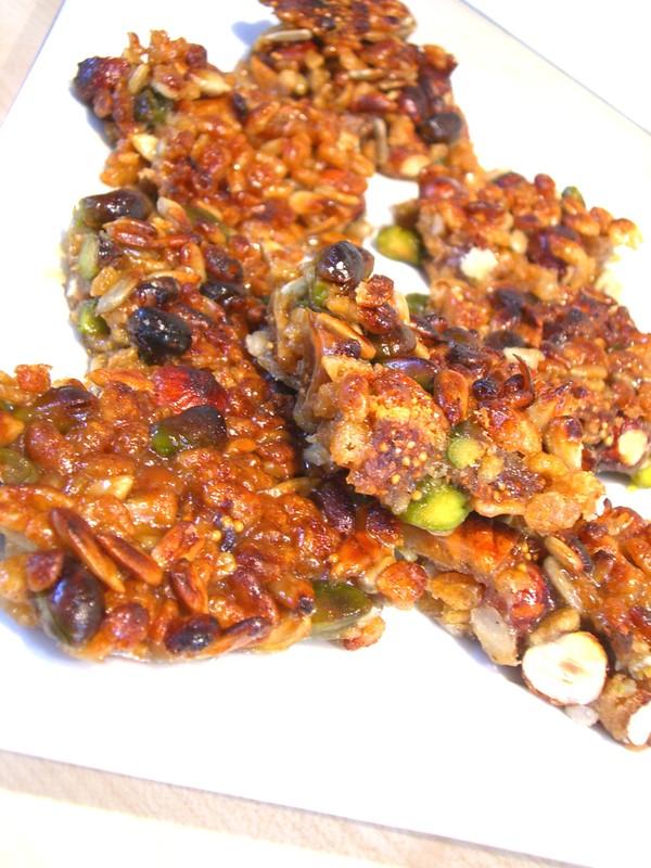 Recette bouchées au riz soufflé et noix